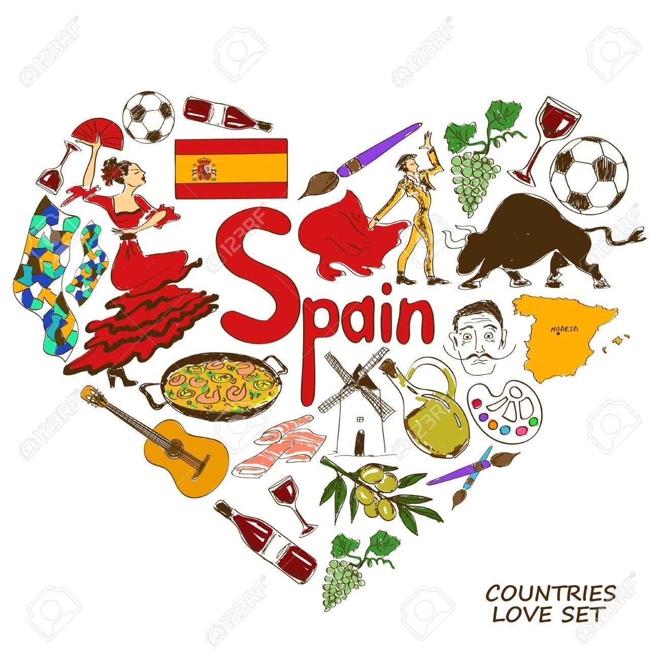 Spanish symbols in heart shape concept